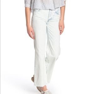 Free People High Rise Straight Flare Raw Hem Jeans
